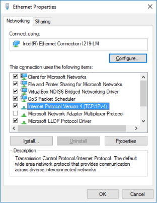 The screenshot displays the Ethernet Properties window with Internet Protocol Version 4 (TCP/IP) highlighted.