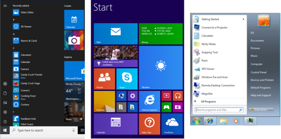 This image display the Start menu for Windows 10, 8.x, and 7 from the left to the right.