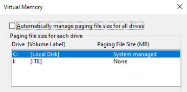 This image displays the location of the check box and the current paging file size for each drive.