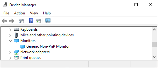 This image displays the expanded section for monitors in device manager.