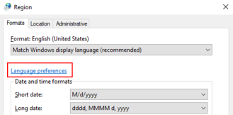 This image is of the formats tab in the region window. It displays the language preference hyperlink.