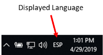 This image is of the taskbar showing the displayed language as ESP