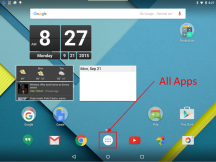 On the home screen, one of the icons is All Apps.
