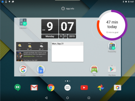The Google Fit Widget is being moved to any empty space on the home screen.