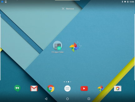 An App inside the folder is being moved to an empty area of the home screen.