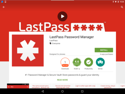 This image is the installation screen for the LastPass app.