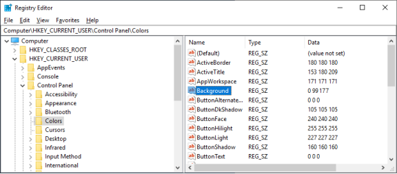 This image displays the registry information regarding the desktop background colors