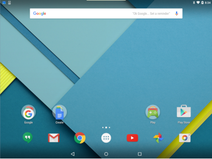The image shows the home screen of an Android device. The home screen has shortcuts to apps installed on the device.