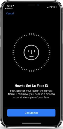 This screen provides the instructions for setting up Face ID: position your face in the camera frame. Move your head in circle to show all the angles of your face.