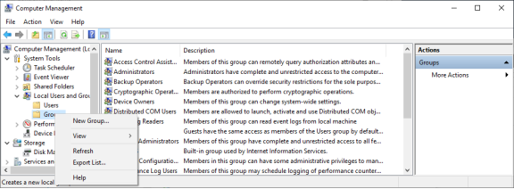 Thi image displays the list of the groups and the context menu to create new groups.