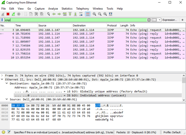 This image displays the wireshark results with the ICMP filter applied.