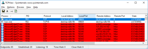 Screenshot of TCPview showing the browser processes in red.
