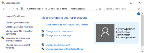 Screenshot of User Accounts window.