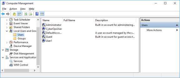 Screenshot of Computer Management showing the Users folder.