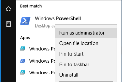 Screenshot of the Windows Powershell with Run as adminstrator option selected.