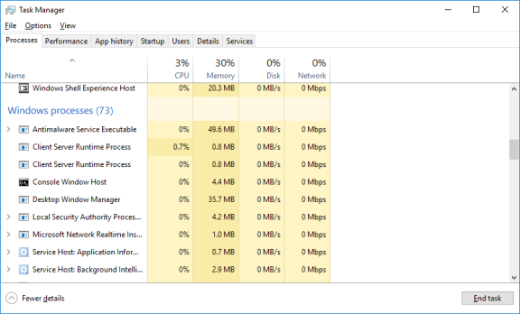 Screenshot of Task Manager showing Windows processes.