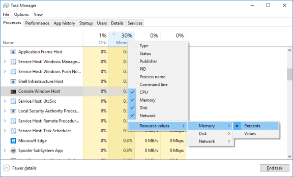 Screenshot of Task Manager showing results of right click on Memory