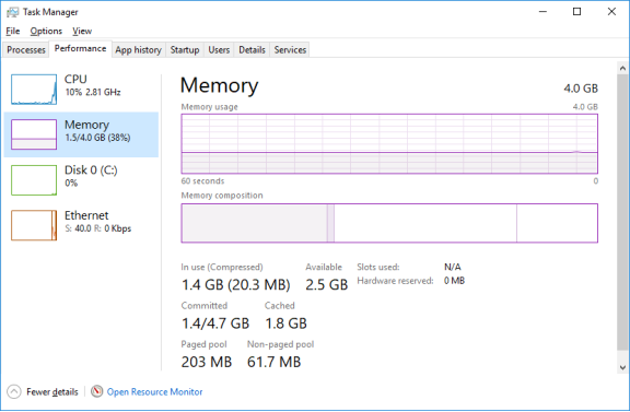 Screenshot showing the Memory option in the Performance tab selected.