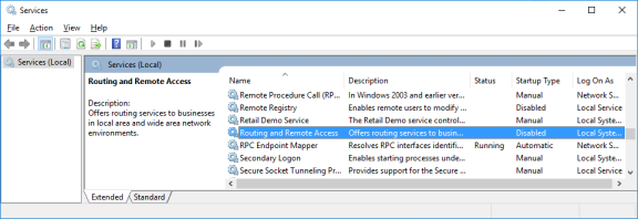 Screenshot of Services window with Routing and Remote Access selected.