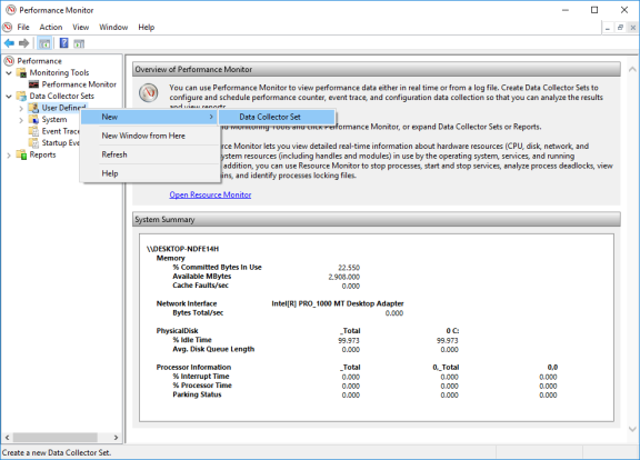 Screenshot of Performance Monitor showing User Defined selected under Data Collector Sets.