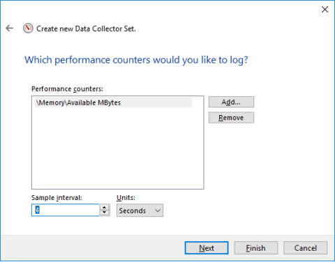Screenshot of Create new Data Collector Set screen with 4 seconds in Sample interval field.