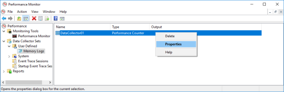 Screenshot of Performance Monitor with Properties of DataCollector01 selected.