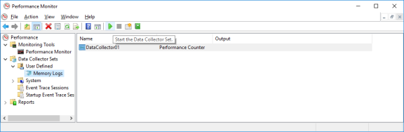 Screenshot of performance Monitor Memory Logs selected and the Start the Data Collector Set arrow clicked.