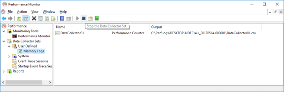 Screenshot of performance Monitor Memory Logs selected and the black square icon has been clicked to Stop the Data Collector Set.
