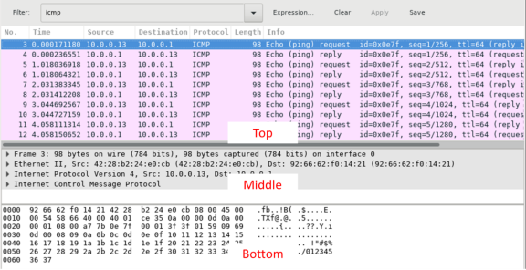 Screen shot of Wireshark capture with the Top, Middle and Bottom sections highlighted.