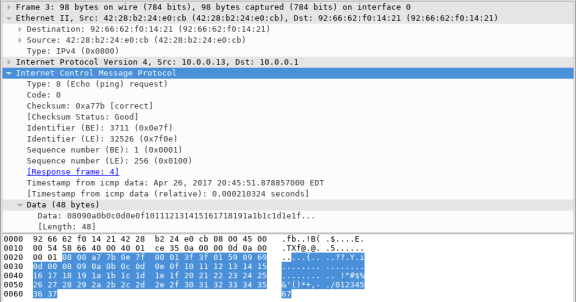 Screen shot of Wireshark caputre highlighting the Internet Control Message Protocol in the middle section.