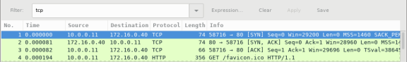 Screen shot of Wireshark capture showing a tcp filter.
