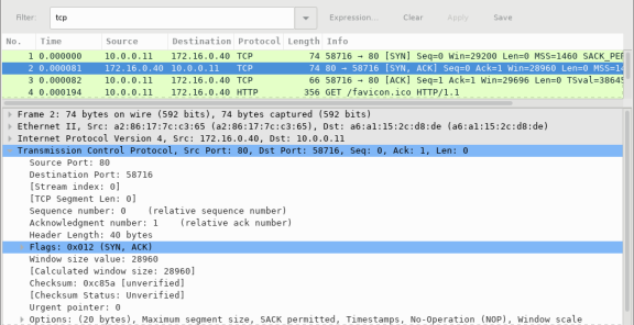 Screen shot of Wireshark packet capture highlighting the TCP three-way handshake replying to the initial reqest to start a session.