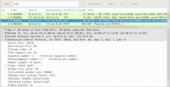 Screen shot of Wireshark capture of the third packet in the three-way handshake.