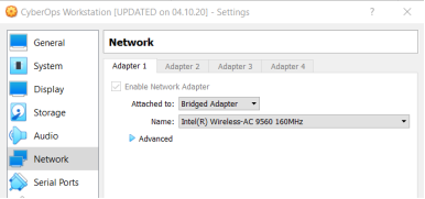 This screenshot displays the CyberOps Workstation VM network settings.