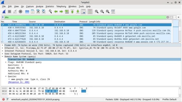 The screenshot displays wireshark results with the dns filter applied.
