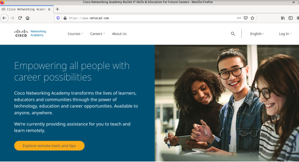 screenshot of www.netacad.com