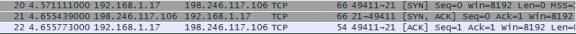 Screen shot of the three packets displaying the TCP three-way handshake
