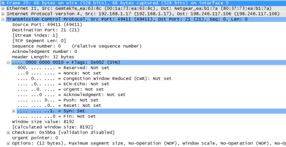 Wireshark screenshot displaying the middle section, the packets details pane, with the TCP datagram expanded