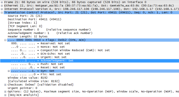Wireshark screen shot of the TCP datagram expanded and highlighted the acknowledgment set of 1 and the syn set of 1