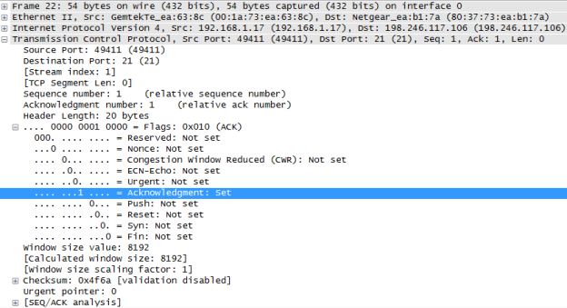 Wireshark screen shot of the TCP datagram expanded and highlighted the acknowledgment set of 1
