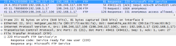 Wireshark screen shot of the FTP protocol expanded with the Response 220