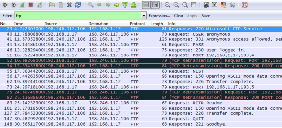 Screen shot of a Wireshark capture using the FTP filter.