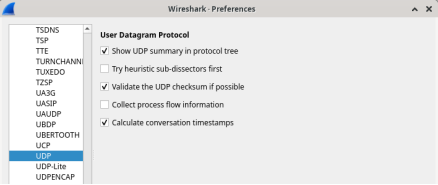 Screenshot of wireshark preferences with UDP highlighted.