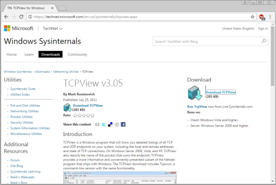 Screen shot of the web page to download TCPview