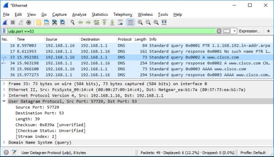 Wireshark screen shot of the User Datagram Protocol section in the bottom pane