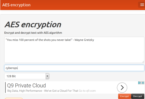 Screenshot of the AES encryption window with cyberops as the secret key.