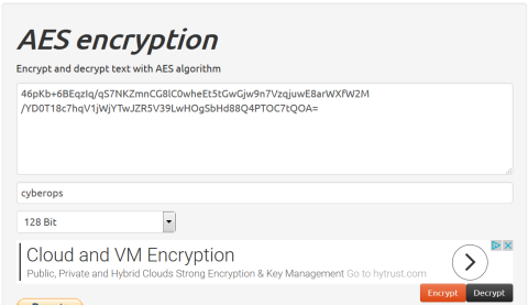 Screenshot of the AES encryption window with cyberops as the pre-shared secret key.