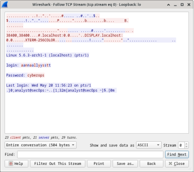 Wireshark screen shot of the results of Follow TCP Stream.