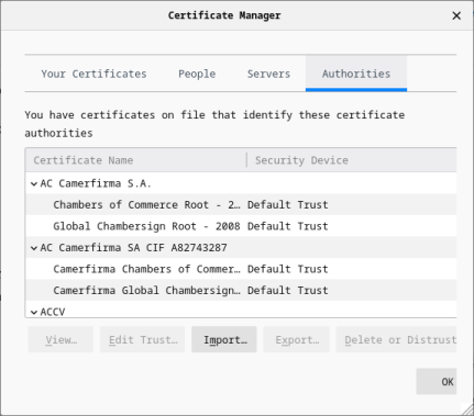 Screenshot of the Certificate Manager window with the Authorities tab selected.