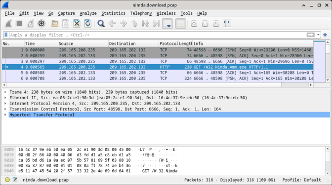 Screenshot shows the nimda.download.pcap file with the fourth packet selected.